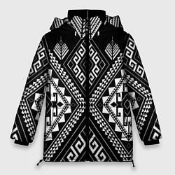 Куртка зимняя женская Индейские мотивы цвета 3D-черный — фото 1