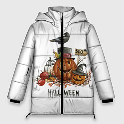 Женская зимняя 3D-куртка с капюшоном с принтом Halloween, цвет: 3D-черный, артикул: 10108889606071 — фото 1