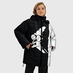 Женская зимняя 3D-куртка с капюшоном с принтом Grandfather: Black & White, цвет: 3D-черный, артикул: 10109127806071 — фото 2