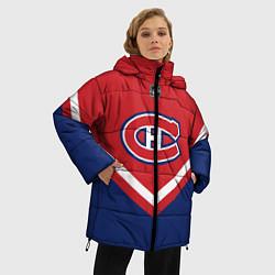 Женская зимняя 3D-куртка с капюшоном с принтом NHL: Montreal Canadiens, цвет: 3D-черный, артикул: 10112235206071 — фото 2