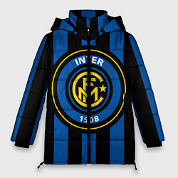 Женская зимняя 3D-куртка с капюшоном с принтом Inter FC 1908, цвет: 3D-черный, артикул: 10113557906071 — фото 1