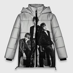 Женская зимняя 3D-куртка с капюшоном с принтом BTS Grey, цвет: 3D-черный, артикул: 10114633106071 — фото 1