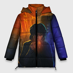Куртка зимняя женская Виктор Цой в ночи цвета 3D-черный — фото 1