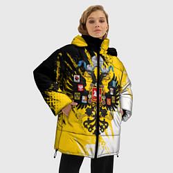 Женская зимняя 3D-куртка с капюшоном с принтом Имперский флаг и герб, цвет: 3D-черный, артикул: 10121300306071 — фото 2
