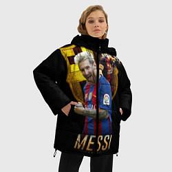 Женская зимняя 3D-куртка с капюшоном с принтом Messi Star, цвет: 3D-черный, артикул: 10126863506071 — фото 2