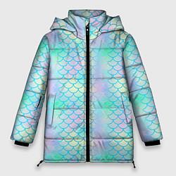 Куртка зимняя женская Голубая чешуя цвета 3D-черный — фото 1