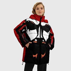 Женская зимняя 3D-куртка с капюшоном с принтом Metalocalypse: Dethklok Face, цвет: 3D-черный, артикул: 10134388506071 — фото 2