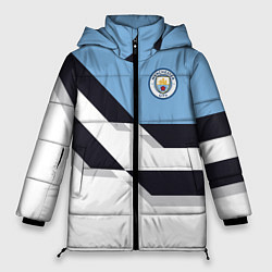 Женская зимняя 3D-куртка с капюшоном с принтом Manchester City FC: White style, цвет: 3D-черный, артикул: 10136813906071 — фото 1