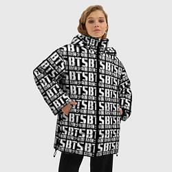Женская зимняя 3D-куртка с капюшоном с принтом BTS K-pop pattern, цвет: 3D-черный, артикул: 10138358906071 — фото 2
