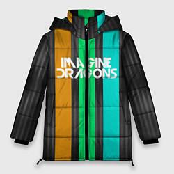 Женская зимняя 3D-куртка с капюшоном с принтом Imagine Dragons: Evolve Lines, цвет: 3D-черный, артикул: 10140513106071 — фото 1