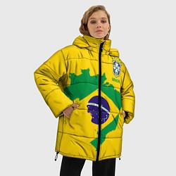 Женская зимняя 3D-куртка с капюшоном с принтом Сборная Бразилии: желтая, цвет: 3D-черный, артикул: 10143140306071 — фото 2