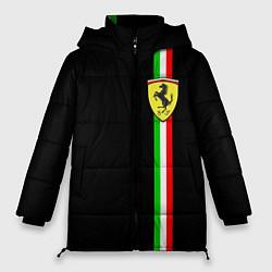 Женская зимняя 3D-куртка с капюшоном с принтом Ferrari: Italia, цвет: 3D-черный, артикул: 10147191906071 — фото 1