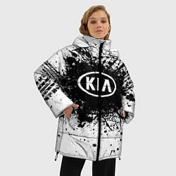 Женская зимняя 3D-куртка с капюшоном с принтом KIA: Black Spray, цвет: 3D-черный, артикул: 10147678906071 — фото 2