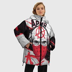 Женская зимняя 3D-куртка с капюшоном с принтом Ария: Анархия, цвет: 3D-черный, артикул: 10152628106071 — фото 2