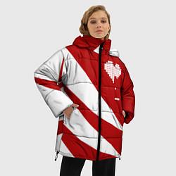 Женская зимняя 3D-куртка с капюшоном с принтом Игра в сердца, цвет: 3D-черный, артикул: 10152700106071 — фото 2