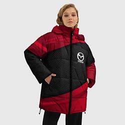 Женская зимняя 3D-куртка с капюшоном с принтом Mazda: Red Sport, цвет: 3D-черный, артикул: 10153000306071 — фото 2
