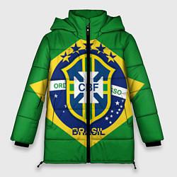 Женская зимняя 3D-куртка с капюшоном с принтом CBF Brazil, цвет: 3D-черный, артикул: 10153088306071 — фото 1