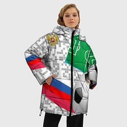 Женская зимняя 3D-куртка с капюшоном с принтом Русский футбол, цвет: 3D-черный, артикул: 10156028106071 — фото 2