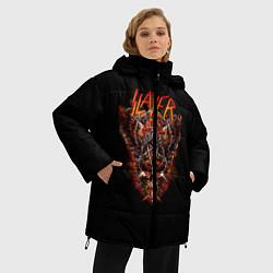 Женская зимняя 3D-куртка с капюшоном с принтом Slayer Hell, цвет: 3D-черный, артикул: 10156600906071 — фото 2