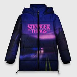 Женская зимняя 3D-куртка с капюшоном с принтом Stranger Things: Neon Road, цвет: 3D-черный, артикул: 10167398506071 — фото 1