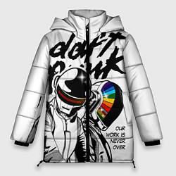 Женская зимняя 3D-куртка с капюшоном с принтом Daft Punk: Our work is never over, цвет: 3D-черный, артикул: 10171356906071 — фото 1