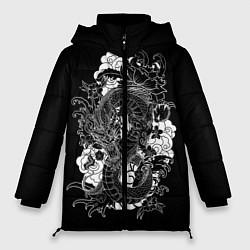 Женская зимняя 3D-куртка с капюшоном с принтом Японский дракон, цвет: 3D-черный, артикул: 10173336906071 — фото 1