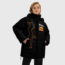 Женская зимняя 3D-куртка с капюшоном с принтом PornHub: Neon Girl, цвет: 3D-черный, артикул: 10174314906071 — фото 2