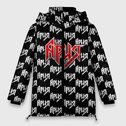 Женская зимняя 3D-куртка с капюшоном с принтом Ария, цвет: 3D-черный, артикул: 10182316906071 — фото 1