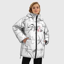Женская зимняя 3D-куртка с капюшоном с принтом STRAY KIDS АВТОГРАФЫ, цвет: 3D-черный, артикул: 10184333906071 — фото 2