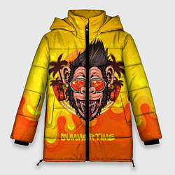Женская зимняя 3D-куртка с капюшоном с принтом Summertime обезьяна, цвет: 3D-черный, артикул: 10209177906071 — фото 1