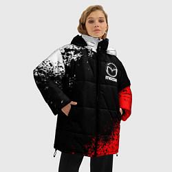 Женская зимняя 3D-куртка с капюшоном с принтом MAZDA, цвет: 3D-черный, артикул: 10211866306071 — фото 2