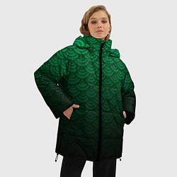 Куртка зимняя женская Узор зеленая чешуя дракон - фото 2