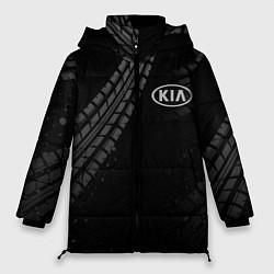 Женская зимняя 3D-куртка с капюшоном с принтом KIA, цвет: 3D-черный, артикул: 10246245706071 — фото 1