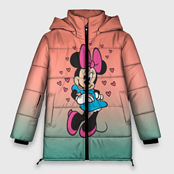 Женская зимняя 3D-куртка с капюшоном с принтом Минни Маус, цвет: 3D-черный, артикул: 10250094106071 — фото 1