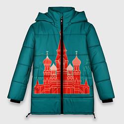 Женская зимняя 3D-куртка с капюшоном с принтом Москва, цвет: 3D-черный, артикул: 10268434306071 — фото 1