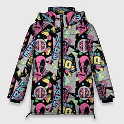Женская зимняя 3D-куртка с капюшоном с принтом Deadpool in the 90s, цвет: 3D-черный, артикул: 10275025906071 — фото 1