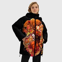 Женская зимняя 3D-куртка с капюшоном с принтом Аска Евангелион, цвет: 3D-черный, артикул: 10282335906071 — фото 2