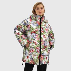 Женская зимняя 3D-куртка с капюшоном с принтом Цветы, цвет: 3D-черный, артикул: 10063853306071 — фото 2