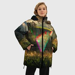 Женская зимняя 3D-куртка с капюшоном с принтом 30 seconds to mars, цвет: 3D-черный, артикул: 10063910306071 — фото 2