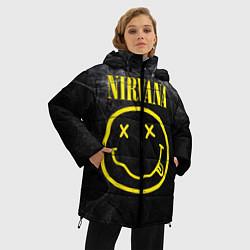 Женская зимняя 3D-куртка с капюшоном с принтом Nirvana Smoke, цвет: 3D-черный, артикул: 10063913606071 — фото 2