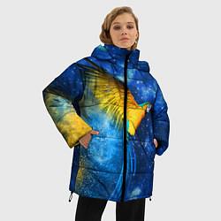 Женская зимняя 3D-куртка с капюшоном с принтом Космический попугай, цвет: 3D-черный, артикул: 10065277406071 — фото 2