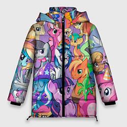 Женская зимняя 3D-куртка с капюшоном с принтом My Little Pony, цвет: 3D-черный, артикул: 10075443806071 — фото 1