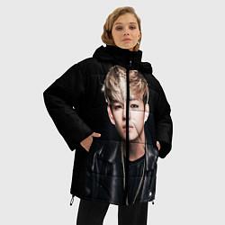 Женская зимняя 3D-куртка с капюшоном с принтом Вишня, цвет: 3D-черный, артикул: 10076888006071 — фото 2