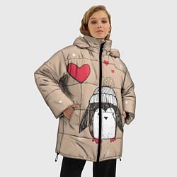 Куртка зимняя женская Пингвин с шариком цвета 3D-черный — фото 2