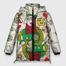 Женская зимняя 3D-куртка с капюшоном с принтом Червовый король, цвет: 3D-черный, артикул: 10079042306071 — фото 1