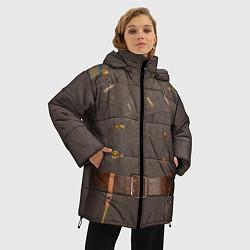 Куртка зимняя женская Шинель цвета 3D-черный — фото 2