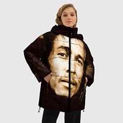 Куртка зимняя женская Взгляд Боба Марли цвета 3D-черный — фото 2