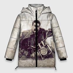 Женская зимняя 3D-куртка с капюшоном с принтом Сталин байкер, цвет: 3D-черный, артикул: 10082408006071 — фото 1