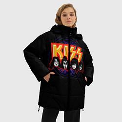 Куртка зимняя женская KISS: Death Faces цвета 3D-черный — фото 2