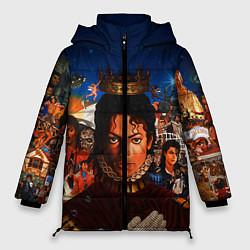 Куртка зимняя женская Michael Jackson: Pop King цвета 3D-черный — фото 1